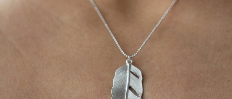 matte silver Modern Feather necklace pendant