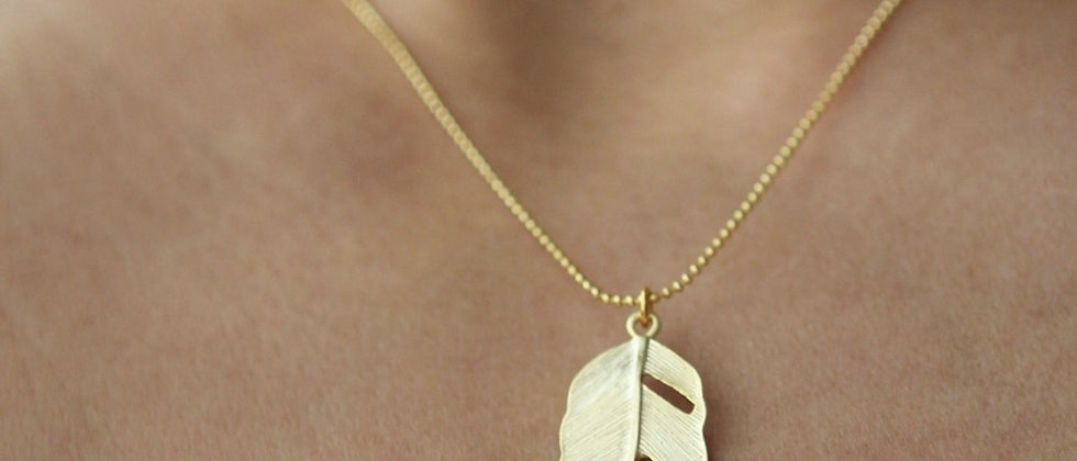 matte gold Modern Feather necklace pendant