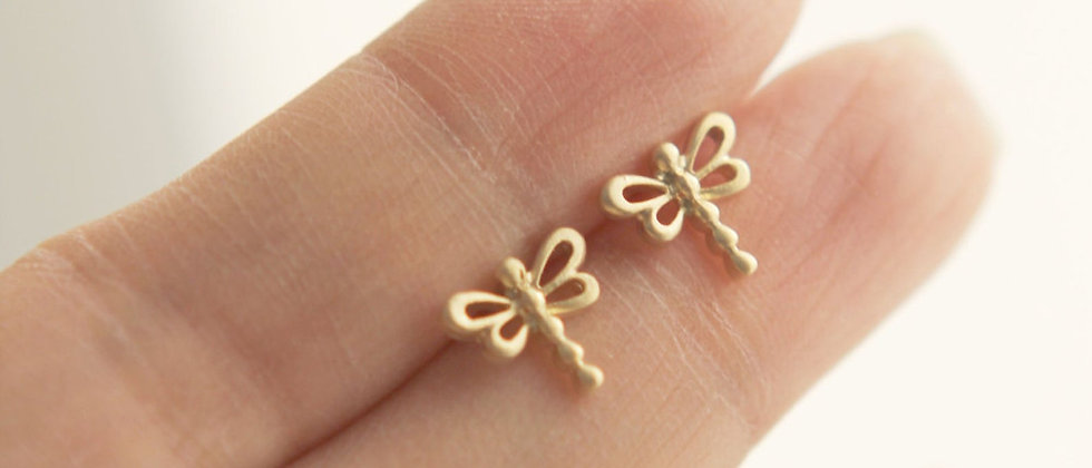 tiny little springtime dragonfly / butterfly earrings in matte gold or matte sil