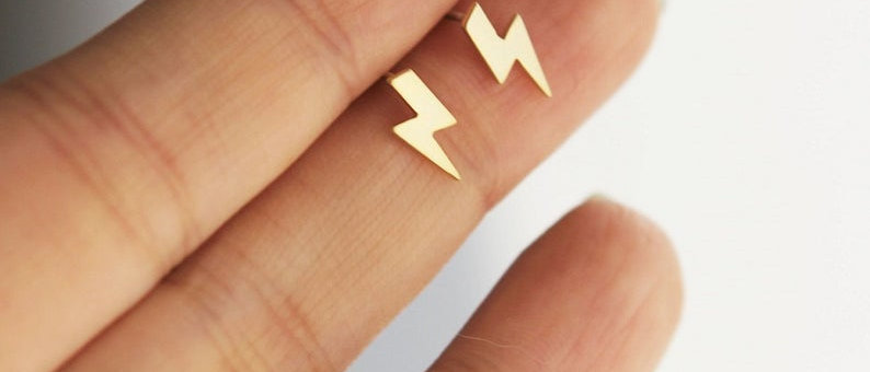tiny Lightning bolt matte gold earrings
