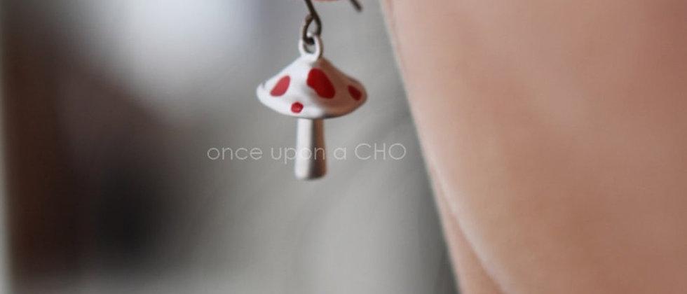 Magic Mushrooms with little red spots on hoop hook earrings