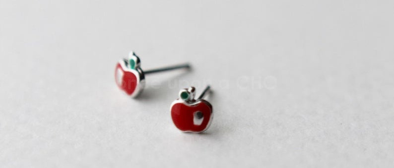 Cute little enamel red Apple stud earrings in sterling silver 925
