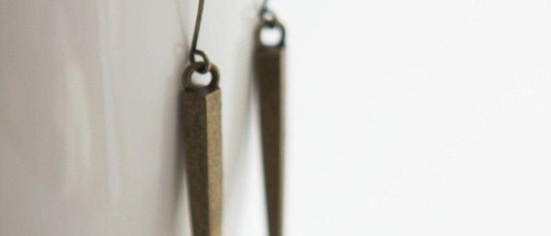 antique brass Extra Long Spike French Hook Earrings