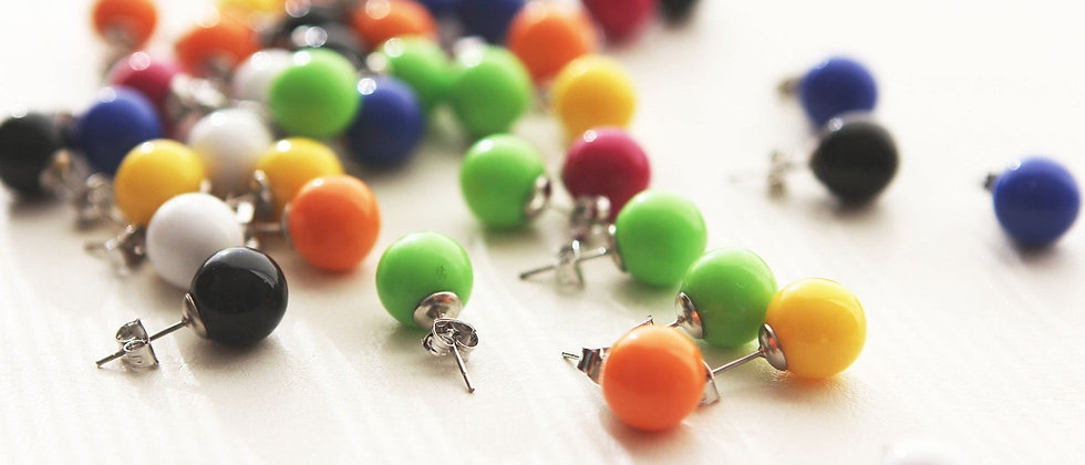 Colorful Rainbow Pop Fun Ball resin post earrings