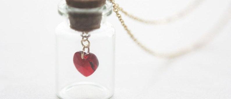 Bottled Love Crystal Heart Swarovski in Glass Bottle Jar Necklace Pendant