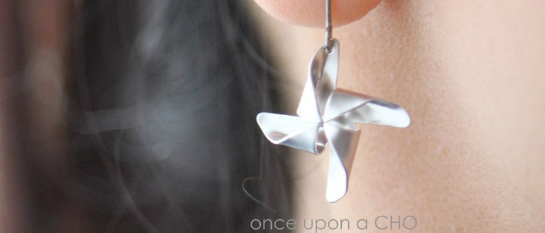 silver Pinwheel French hook earrings