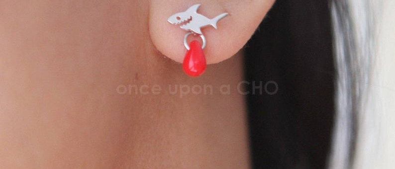 GREAT WHITE tiny shark with drop of blood stud post earrings