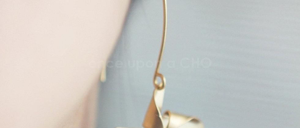 gold Pinwheel French hook earrings
