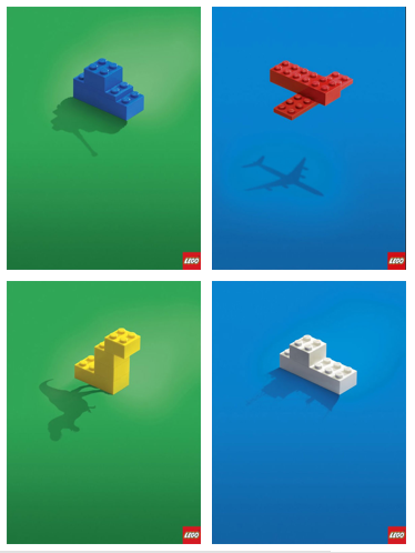 A graphic split into four boxes, each LEGO representing a different kids toy.