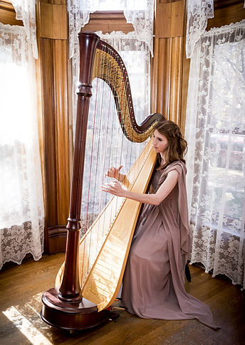 Mary Keener plays the harp at Castle Marne in Denver Colorado