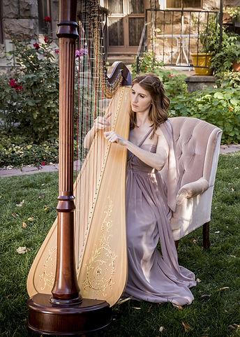 Colorado Harpist Mary Keener at Castle Marne in Denver