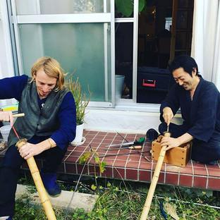 オーストラリアから来た素晴らしいミュージシャンのシヴァムと虚無僧尺八(法竹)を作