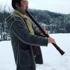 雪と虚無僧尺八とチビっ子__#尺八 #虚無僧  #法竹 #hocchiku #s