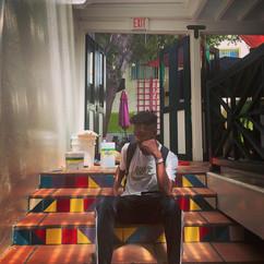 Prince Pronto thinking at the cafe, Philipsburg, SXM