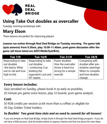 Take out doubles by overcaller-lesson series September 2021