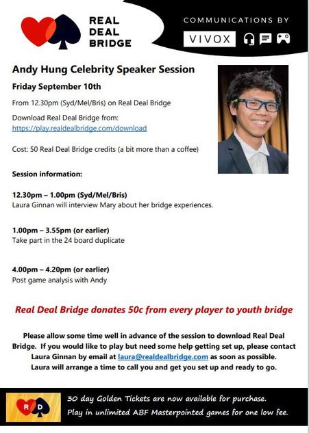 10/9 Andy Hung: Celebrity Speaker talk
