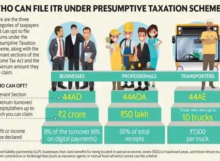 Presumptive Income Scheme - Section 44AD, 44ADA, 44AE