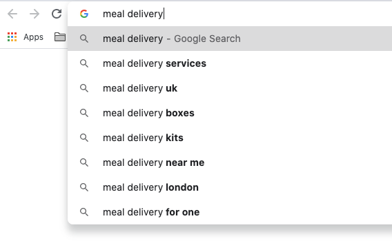 A screenshot of a google search with drop down suggestions for meal delivery