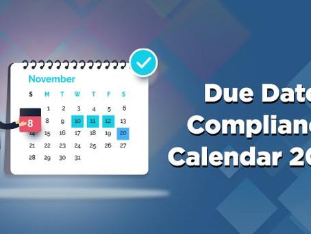 Compliance Calendar for November, 2020
