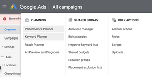 A screenshot of part of the Google Ads dashboard highlighting where to find the Keyword Planner