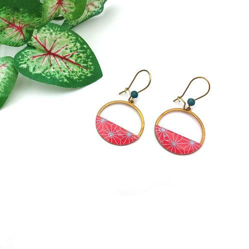 Boucles d'oreilles tendance bleu rose