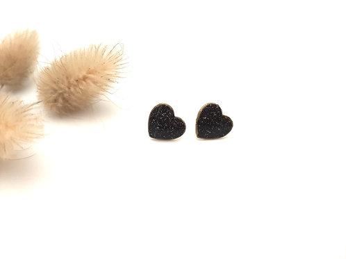 Clous d'oreilles cœur noir pailleté