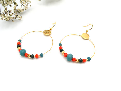 Boucles créoles tangerine et perles dorées à l'or fin