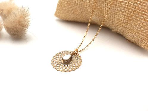 Collier court acier inoxydable doré pendentif arabesque