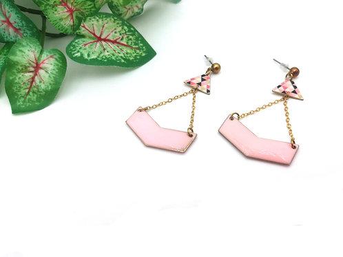 Boucles d'oreilles chaînette maille fine et sequin en laiton rose dragée