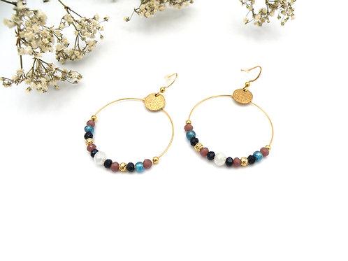 Boucles créoles pourpre et perles dorées à l'or fin