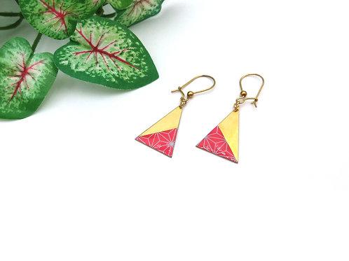 Boucles d'oreilles triangle en laiton doré