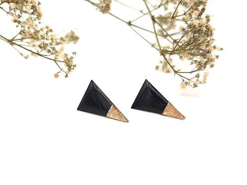 Boucles d'oreilles graphiques triangle noir et or