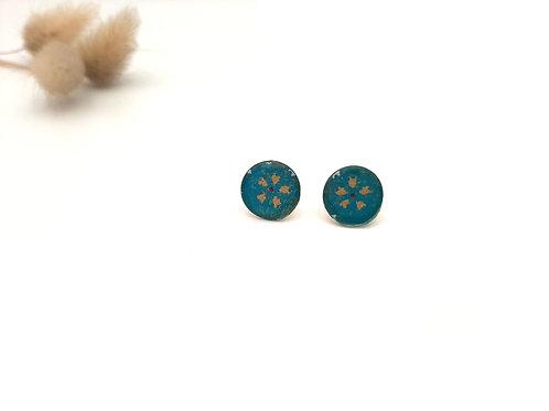 Boucles d'oreilles puces rondes turquoise à fleurs