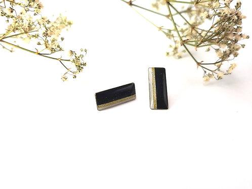 Boucles d'oreilles graphiques rectangle blanc, noir et or