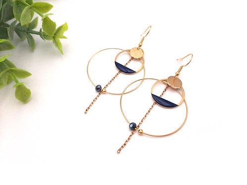 Boucles d'oreilles créoles double bleu marine