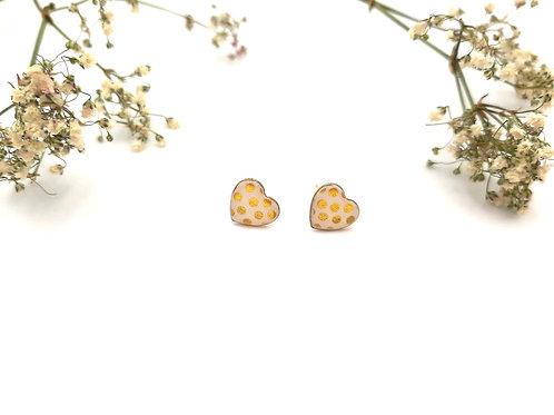Clous d'oreilles cœur pois dorés