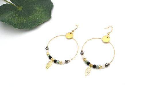 Boucles créoles émeraude et perles dorées à l'or fin