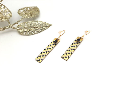 Boucles d'oreilles rectangle damier