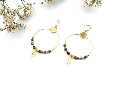 Boucles créoles acajou et perles dorées à l'or fin