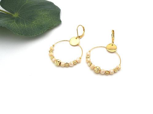 Boucles créoles ivoire et perles dorées à l'or fin