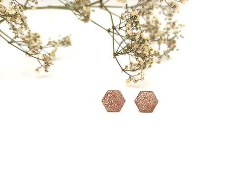 Boucles d'oreilles puces hexagonales