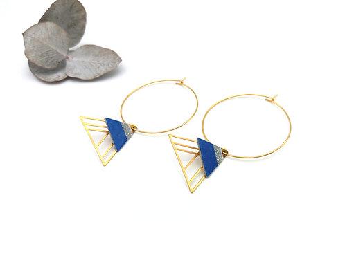Boucles d'oreilles graphiques créoles et triangles