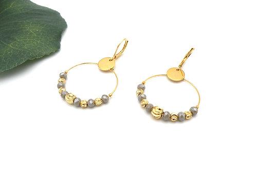 Boucles créoles tilleul et perles dorées à l'or fin