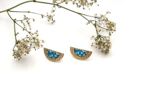 Boucles d'oreilles puces demi-lune turquoise
