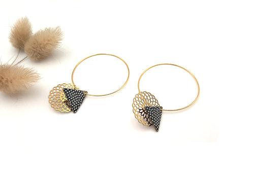 Boucles d'oreilles créoles arabesque graphique