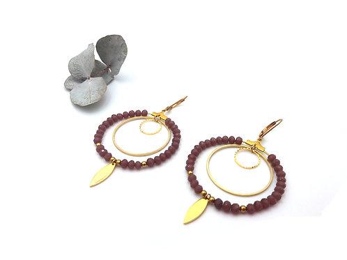 Boucles d'oreilles créoles multi perles à facettes couleur pourpre