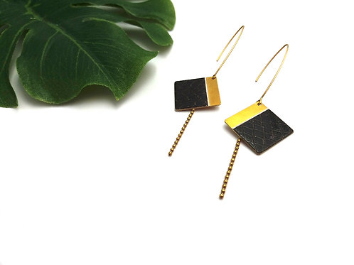 Boucles d'oreilles carrées noires façon croco