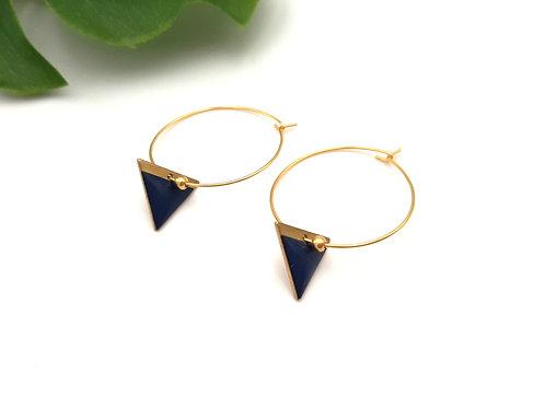 Boucles d'oreilles créoles graphiques triangle bleu marine