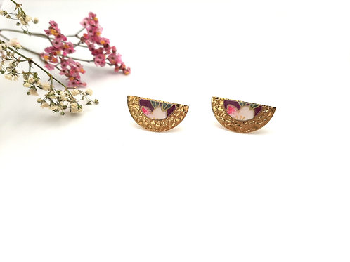 Boucles d'oreilles puces demi-lune fleurs