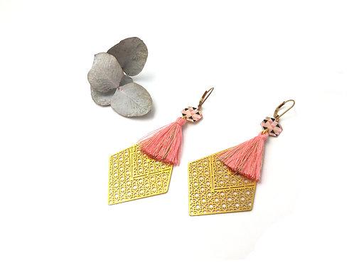 Boucles d'oreilles losange filigrane Art Déco rose